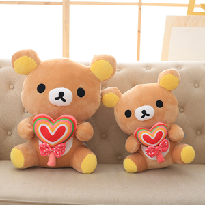 30/40/50 cm Soft Rilakkuma Bear With Heart Shape Candy Pop Plush Toy Stuffed Animal Teddy Bear Bed Toy For Children's Gift