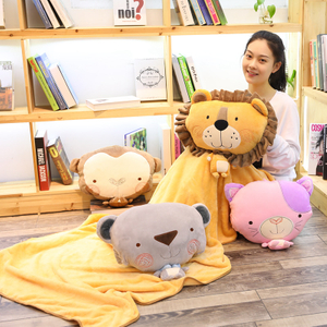 Bear Plush Toy Soft Stuffed Cute Animal Bear With Blanket Lovely Pillow for Kids Appease Toy Baby Sleeping Room Decoration