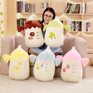 48 cm 2 in 1 Plush Feeding Bottle Pillow Soft Plush Pillow Air Conditioner Blanket Creative Toys For Children Home Decoration