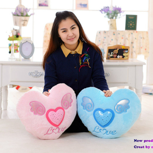 Glowing Colorful Heart LED Luminous Pillow LED Light Stuffed Projective Plush Soft Cushion Kids Toys Party Birthday Gift Home