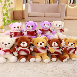 Wholesale 5 Pieces A Lot 30/35 cm Soft Plush Sweater Bears Plush Toy Stuffed Animal Teddy bear Bed Toy For Children's Gift