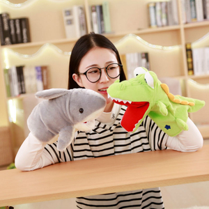 28/38 cm Stuffed Animal Crocodile VS Shark Cotton Large size Hand Puppet Plush Toy For Little Baby