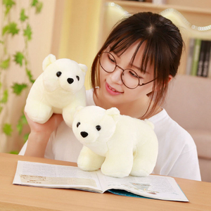 25/30 cm Simulation Polar Bear Plush Pillow Stuffed Animal Polar Bear Cushion Toys For Children's Room Sleeping Mate