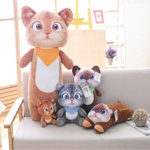 Plush Cat Toy Stuffed Animal Three Diablos Puss Cat Kitty Toy for Children's Day Gift Or Bedroom Decoration